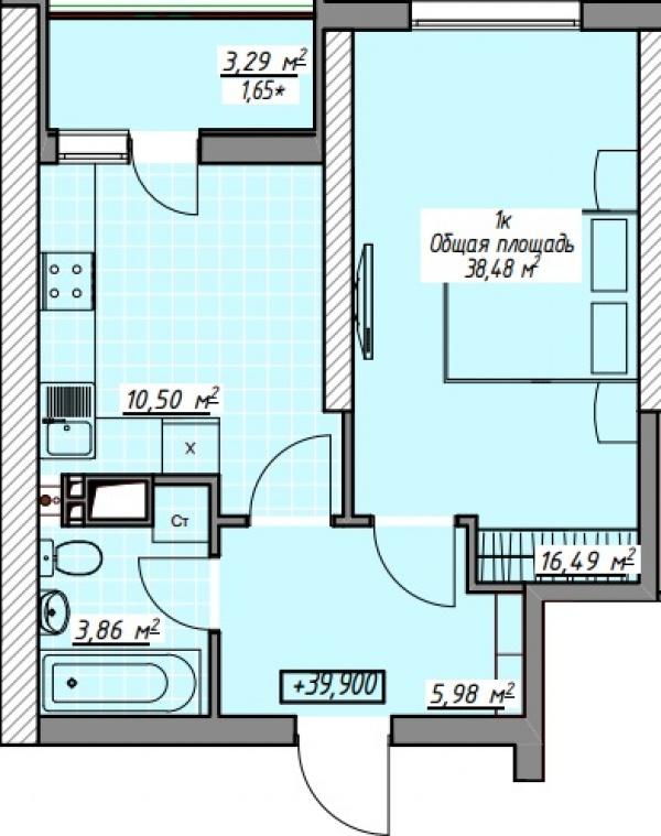 Планировки однокомнатных квартир 38.48 м^2